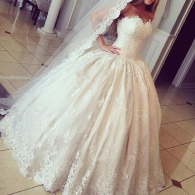 Modern Ball Gown Wedding Dress - Strapless Sleeveless Ruched Lace