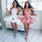 A-Line Jewel Backless Sleeveless Short White/Blush Satin Homecoming Dress