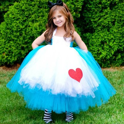 Ball Gown Halter Tea-Length White and Blue Flower Girl Dress with Lace