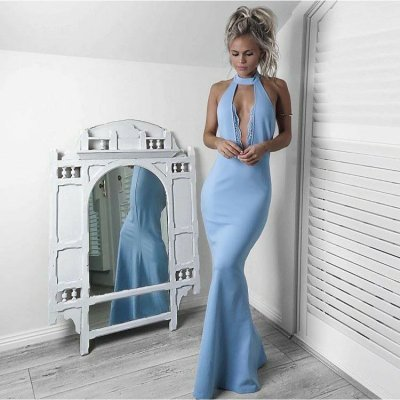 Mermaid Halter Keyhole Light Sky Blue Satin Prom Dress with Lace