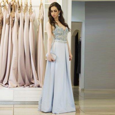 9a2e0e09e974 A-Line V-Neck Backless Floor-Length Blue Satin Prom Dress with Beading