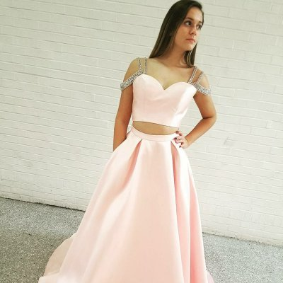 Two Piece Spaghetti Straps Sweep Train Pink Satin Prom Dress with Pockets