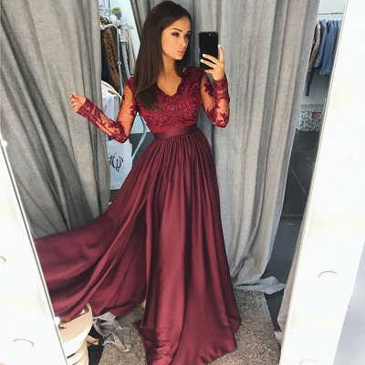 A-Line V-Neck Long Sleeves Burgundy Satin Prom Dress with Appliques