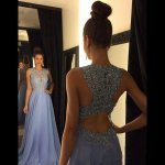 Stunning Floor Length Prom Dress - Crew Neck with Appliques