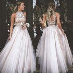 Two Piece High Neck Open Back Light Pink Tulle Prom Dress with Rhinestones