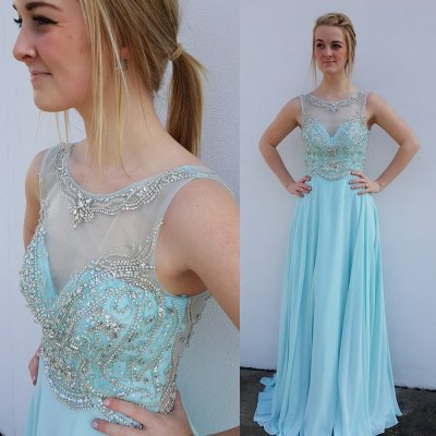 Elegant Floor Length Prom Party Dress - Blue Scoop Backless Tops with Beaded