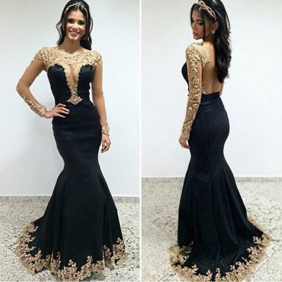 Charming Mermaid Prom Party Dress - Black Scoop Long Sleeves with Appliques