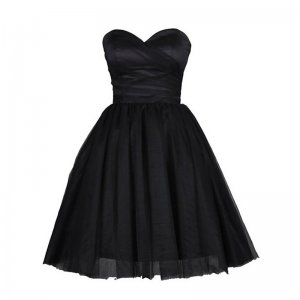 Classic Sweetheart Sleeveless Short Black Homecoming Dress Ruched