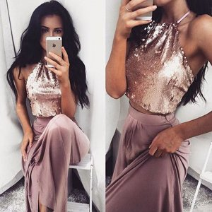 Hot Sale Two Piece Halter Floor-Length Mauve Taffeta Homecoming Dress with Sequins