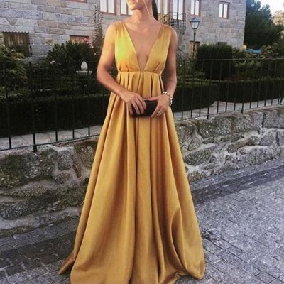 A-line Deep V-Neck Empire Gold Satin Prom Dress with Pleats