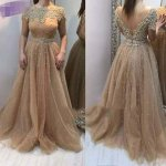 A-Line Bateau Cap Sleeves V-Back Champagne Prom Dress with Pearl Appliques