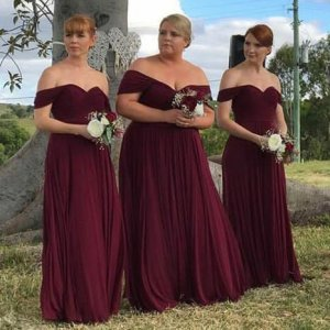 A-Line Off-the-Shoulder Floor-Length Burgundy Chiffon Bridesmaid Dress
