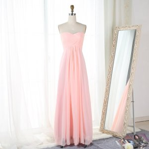 A-Line Sweetheart Floor-Length Pink Empire Chiffon Bridesmaid Dress