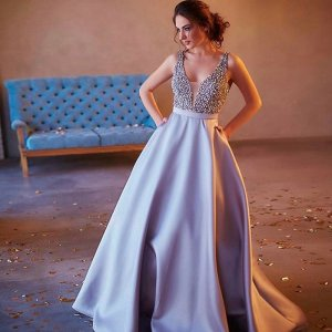 A-Line V-Neck Sweep Train Grey Satin Prom Dress with Beading Pockets