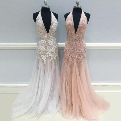 Mermaid Halter Backless White Long Prom Dress with Appliques