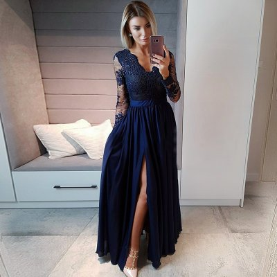 A-Line V-Neck Long Sleeves Navy Blue Prom Dress with Appliques