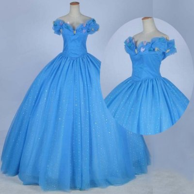 Cinderella Prom/Quinceanera Dress - Blue Ball Gown Off the Shoulder with Butterfly