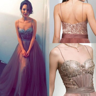 Sexy Long Prom Dress/Evening Dress - Spaghetti Straps Tulle Sequins with Rhinestone
