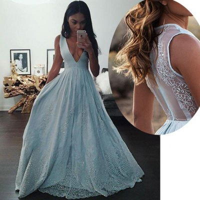 Elegant V Neck Sky Blue Sleeveless Chiffon Prom Gown with Lace