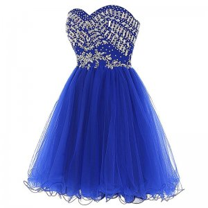 Chic Sweetheart Short Royal Blue Homecoming Dresses with Rhinestones