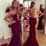 Sexy Burgundy Prom Dress - Mermaid Spaghetti Straps Court Train Backless Ruched