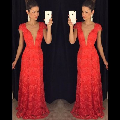 A-Line Deep V-Neck Cap Sleeves Floor-Length Red Lace Prom Dress