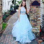 Two Piece Jewel Floor-Length Blue Tiered Prom Dress with Beading