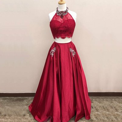 Two Piece Jewel Dark Red Satin Prom Dress with Pockets Beading