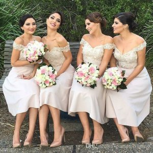 A-Line Off-the-Shoulder Knee-Length Ivory Bridesmaid Dress with Appliques