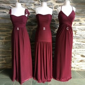 A-Line Square Neck Cap Sleeves Burgundy Chiffon Bridesmaid Dress