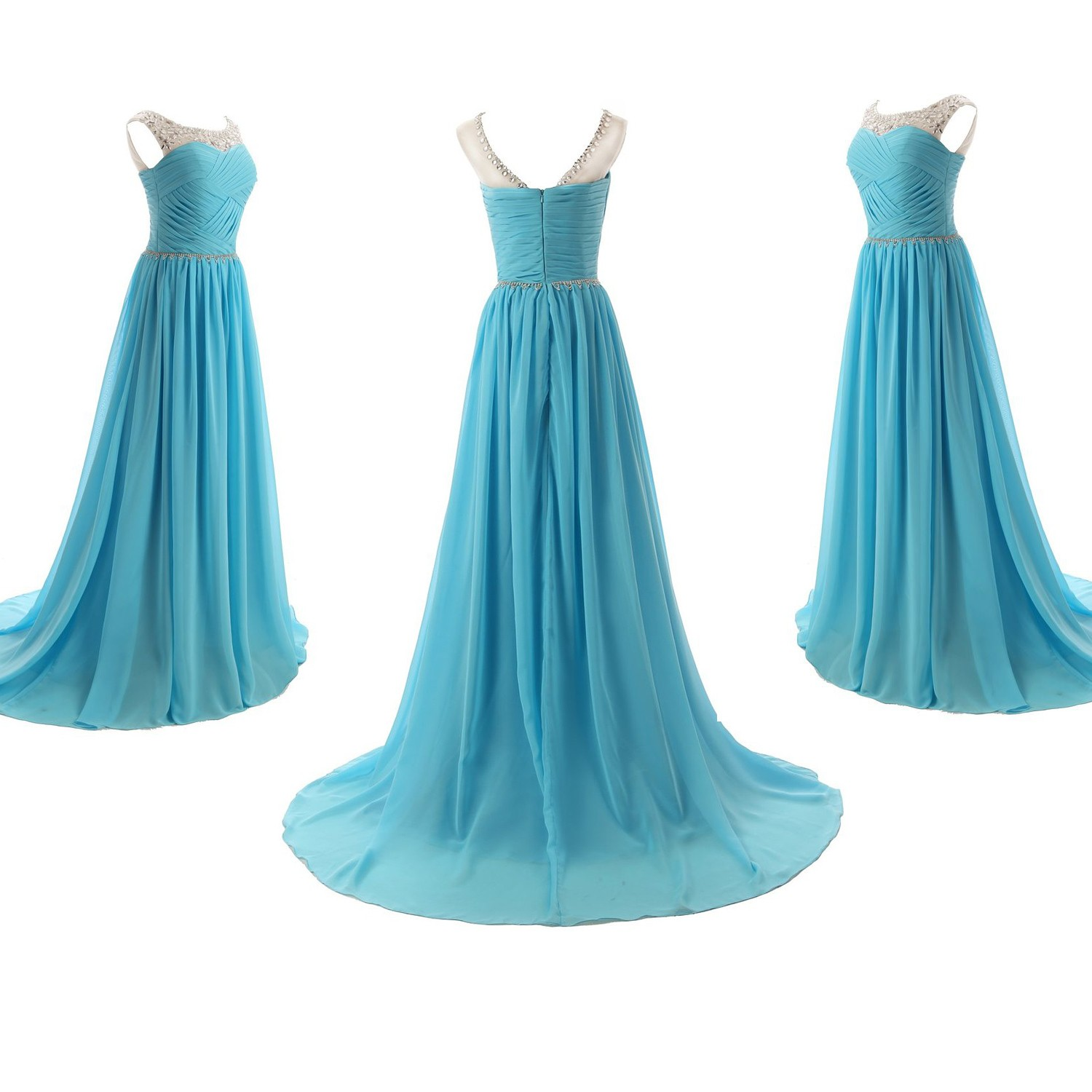 Elegant A-Line Scoop Long Chiffon Blue Evening/Prom Dress With Beading