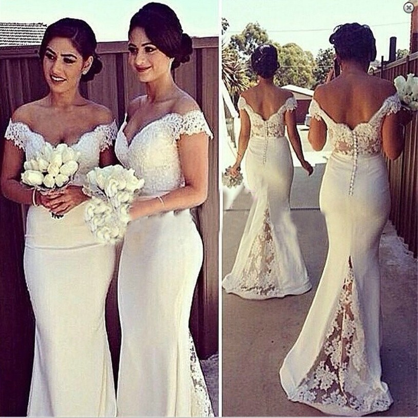 Elegant Mermaid Off-the-Shoulder Floor Length Lace White Bridesmaid Dress