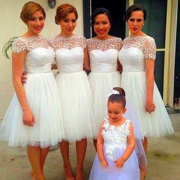 New A-Line Sweetheart Knee Length Tulle White Bridesmaid/Homecoming Dress With