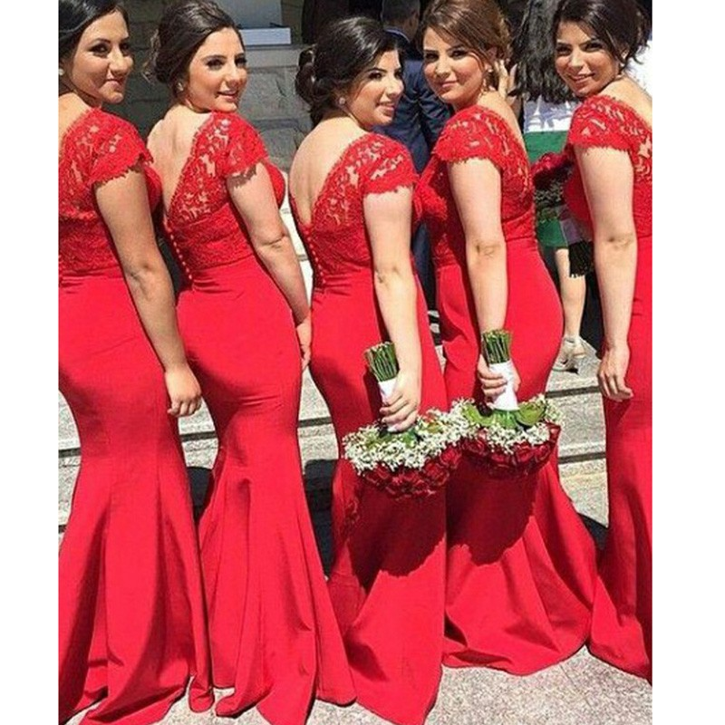 Elegant Plus Size Bridesmaid Dress -Red Mermaid V-Neck with Lace