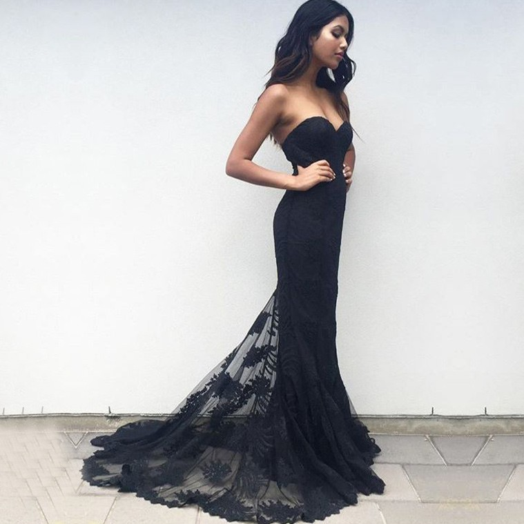 Mermaid Sweetheart Sweep Train Black Tulle Prom Bridesmaid Dress with Appliques