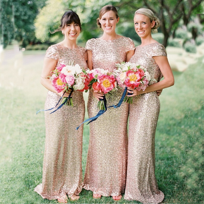 Sheath Scoop Short Sleeves Backless Rose Gold Sequined Bridesmaid Dress