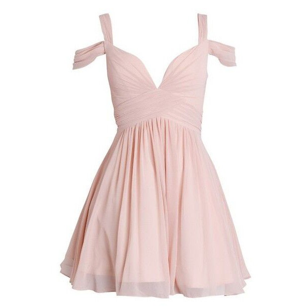 Short/Mini Chiffon Bridesmaid Dress - Pink A-Line Off-the-Shoulder