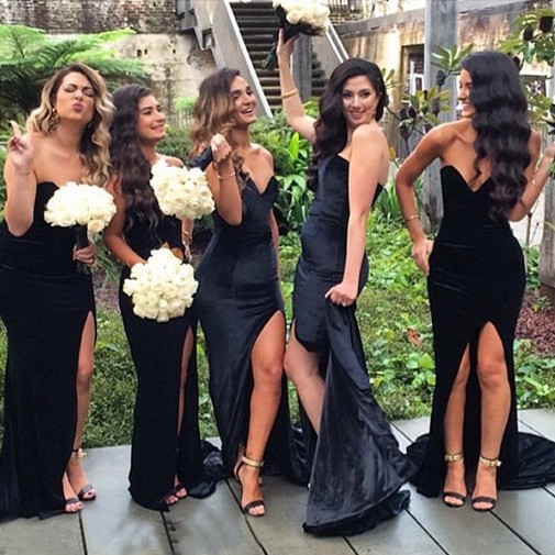 Fashion V-neck Long Mermaid Black Bridesmaid Dress With Split Side