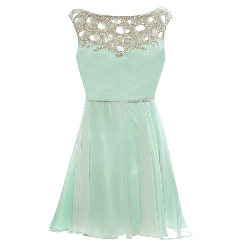 Cute Scoop A-line Chiffon Short Mint Bridesmaid Dress With Sequins