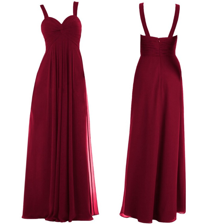 Simple Straps Ruffles A-line Long Burgundy Bridesmaid Dress for Party