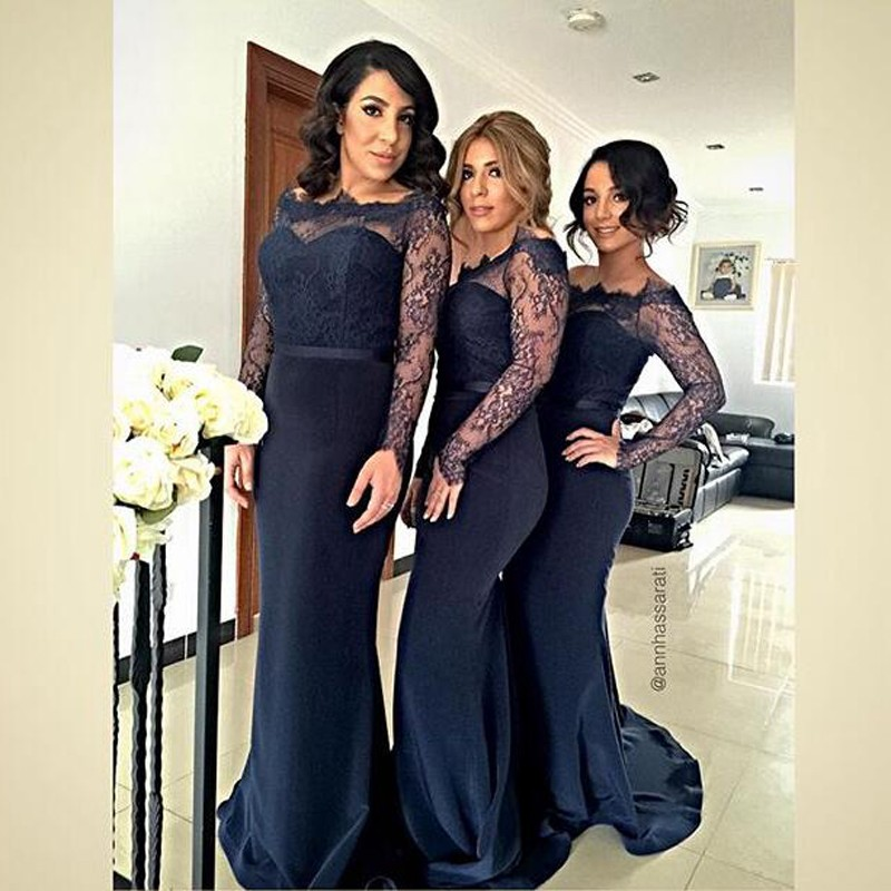 Fabulous Off-the-shoulder Long Sleeves Dark Navy Bridesmaid Dress with Lace