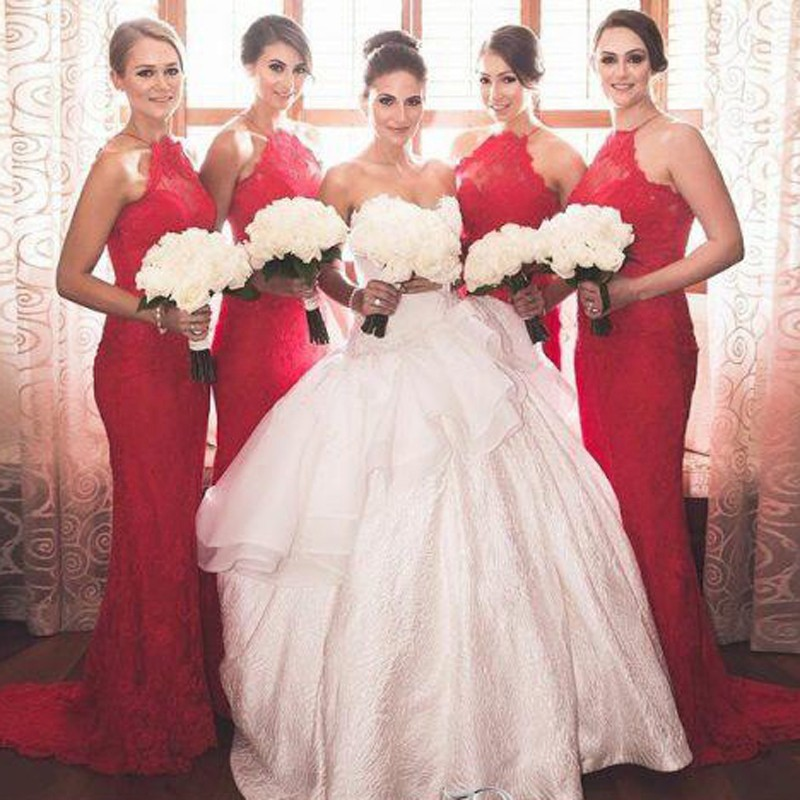 Elegant Jewel Sleeveless Sheath Red Lace Bridesmaid Dress with Sweep Train