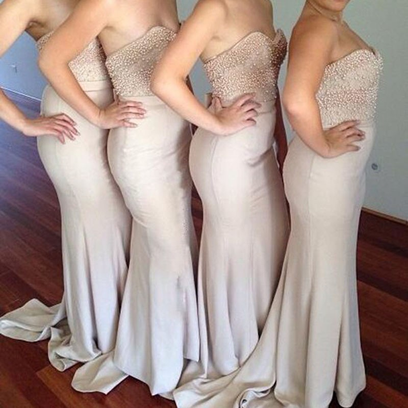 Decent Sweetheart Sheath Bridesmaid Dress - Flesh Color Sweep Train with Bowknot Pearl