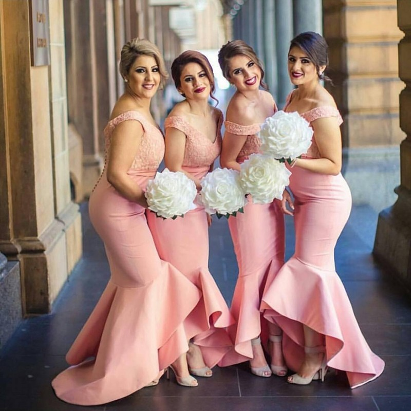 High Quality Mermaid Bridesmaid Dress - Pink Off Shoulder Hi-Low with Ruffles Lace Top