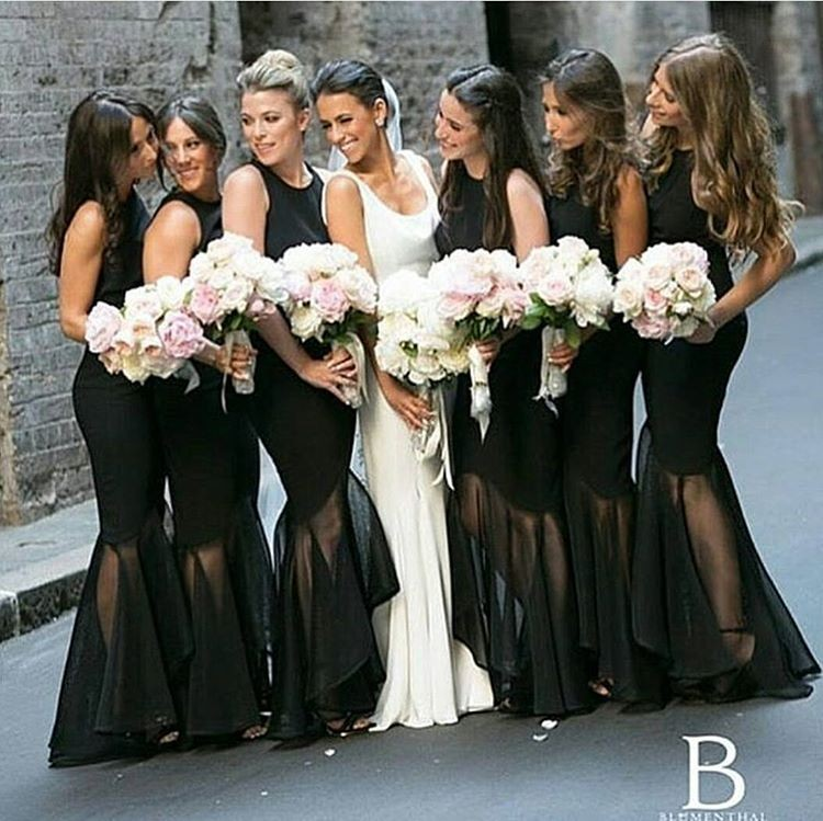 Hot Selling Black Scoop Sleeveless Floor-Length Ruched Bridesmaid Dress