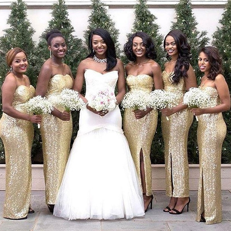 Mermaid Sweetheart Ankle-Length Gold Sequined Bridesmaid Dress with Split