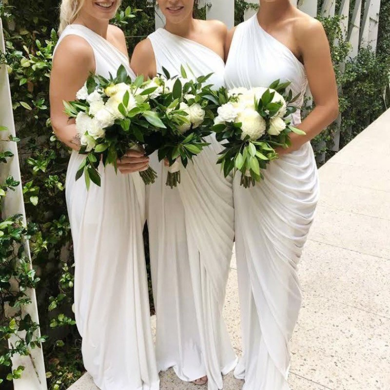 Sheath One Shoulder Floor-Length White Ruched Chiffon Bridesmaid Dress