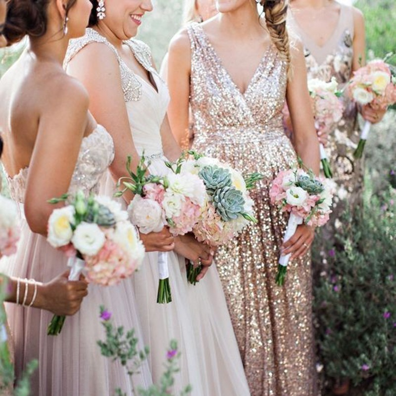 A-Line Deep V-Neck Floor-Length Champagne Sequined Bridesmaid Dress