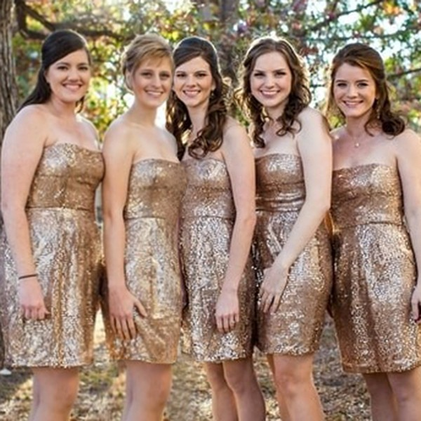 A-Line Strapless Short Champagne Sequined Bridesmaid Dress