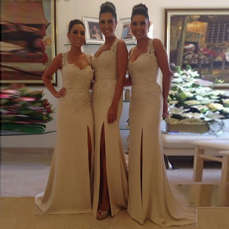 Sheath Scoop Sweep Train Ivory Satin Bridesmaid Dress with Lace Split